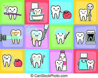 Teeth care treatment and hygiene concepts set. Healthy happy...