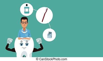 Teeth cartoon and dental hygiene HD animation - Dentist with...