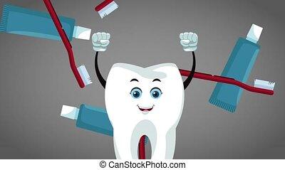 Teeth cartoon and dental hygiene HD animation - Happy tooth ...