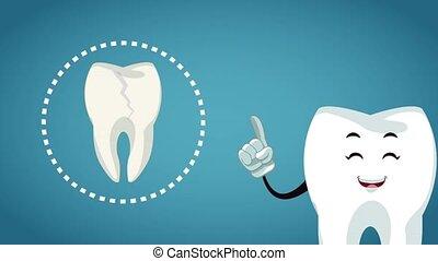 Teeth cartoon and dental hygiene HD animation - Tooth with ...