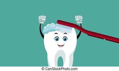 Teeth cartoon and dental hygiene HD animation - toothbrush ...