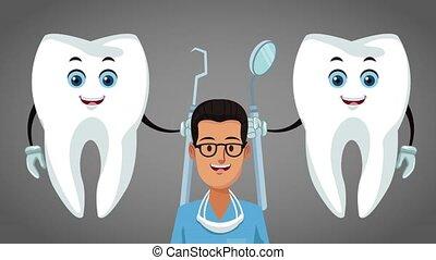 Teeth cartoon and dental hygiene HD animation - Tooths with ...