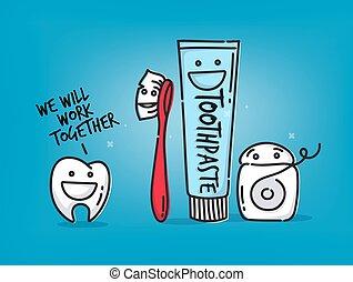 Teeth cartoons blue - Small amusing tooth, toothbrush,...