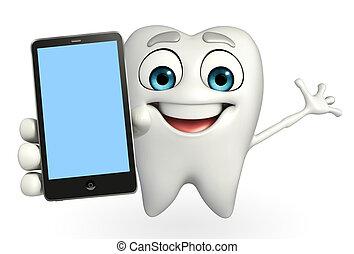 Teeth character with mobile - Cartoon character of teeth...