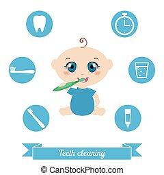 Teeth cleaning. Baby brushing his teeth