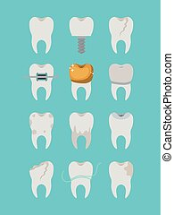 teeth different type set on color poster