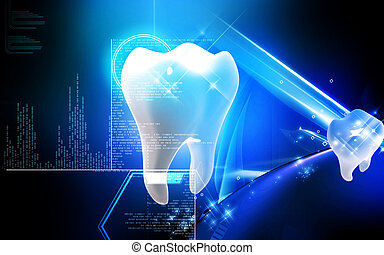 Teeth - Digital illustration of teeth in colour background...