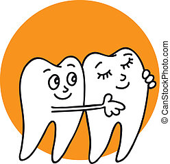 Teeth - White healthy teeth are smiling, hugging, happy are...