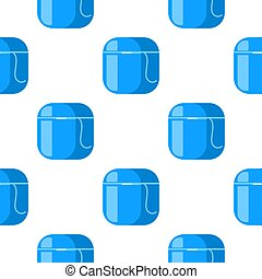 Teeth floss seamless pattern. Dental floss symbol in flat style