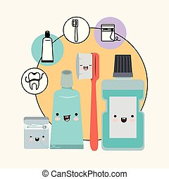 teeth friends dental care elements kawaii set with different expression with circular frame icons dental care on white background