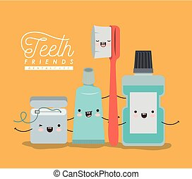 teeth friends dental care kawaii set with different expression on color poster