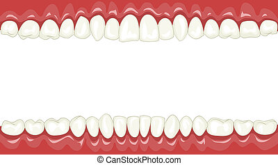 Funny background with cartoon teeth, vector illustration