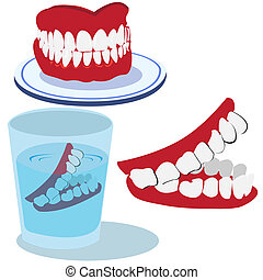 Teeth - Funny vector illustration of three teeth isolated on...