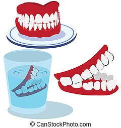 Teeth - Funny vector illustration of three teeth isolated on...