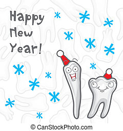 Teeth. Happy New Year greeting card inscriptions for the...