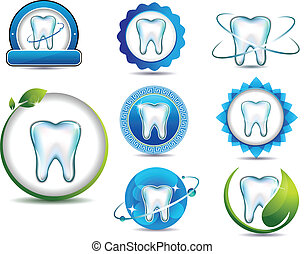 Teeth health care - Healthy teeth symbol collection. Clean...