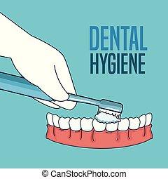 teeth hygiene treatment with toothbrush tool