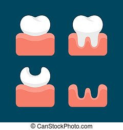 Teeth  Icons Set for Dental Design. Vector