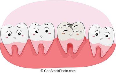 Teeth Mascot Tooth Decay Illustration