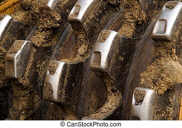 Teeth of a compactor - Close-up of a wheel of a compactor