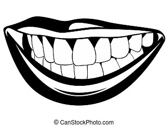 Teeth - Part of the human face. Black and white illustration...