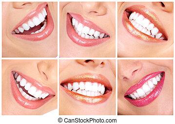 Teeth  - Beautiful young woman teeth. Close up