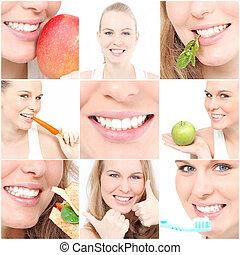 teeth, poster, het tonen, tandgezondheid, voor, tandarts...