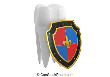 teeth protection concept with shield, 3D rendering