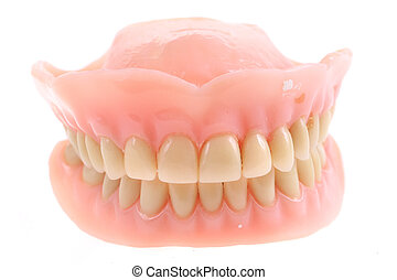 teeth prothesis isolated on the white background