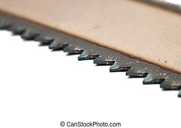 Teeth saws close up, isolate on a white background