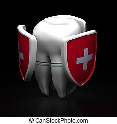 Teeth shield protection - Teeth protection concept - 3d...