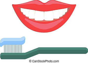 Teeth smiling and toothbrush