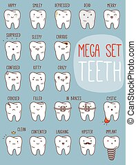 Teeth treatment set. Dental collection for your design with different teeth characters. Vector cartoons. Illustrations for children dentistry.