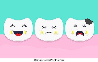teeth., vecteur, rang, concept, healthcare
