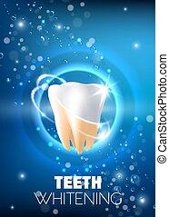 Teeth whitening ad vector realistic illustration