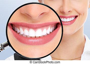 Beautiful woman teeth. Dental health, whitening