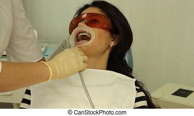 Teeth Whitening. Procedure, washing