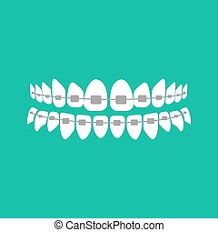 Teeth with braces on the green background. Vector...