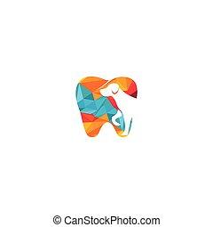 Teeth with dog vector logo design.