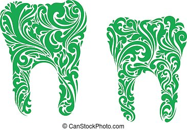 Decorative teeth with swirling green floral and foliate patterns on white