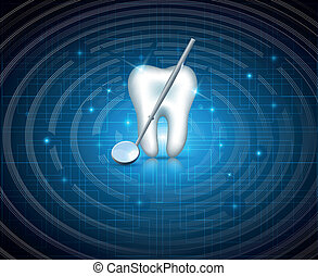 Teeth with mirror on a technology background - Teeth with...