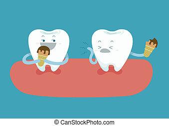teeth, zijn, etende ijsje-room, maar, toot