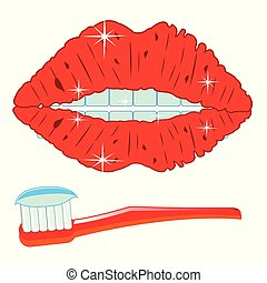 Teeths and toothbrush - Mouth of the person with teeth and ...