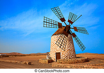 Tefia windmill Fuerteventura at Canary Islands