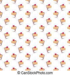 tegel, vector, achtergrond, cupcake