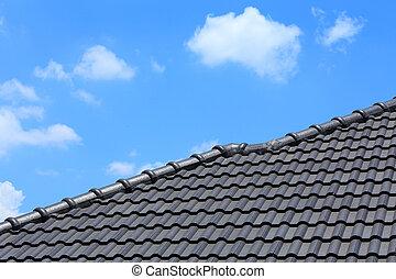 tegeldak, op, een, nieuw huis, met, blauwe hemel