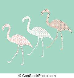 tegelpanna, mönster, flamingo, oavgjord, hand