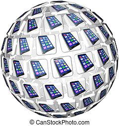 tegelpanna, telefoner, app, glob, mönster, smart