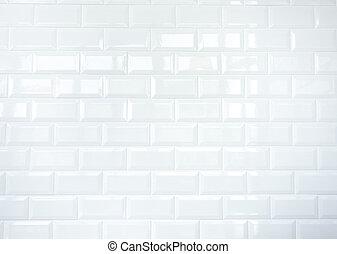 tegelpanna, vägg, vit, keramisk, tegelsten