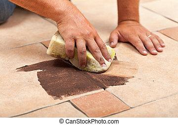 tegels, keramisch, vloer, kleur, -, testen, het leggen, joint